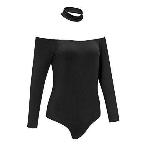 Smile YKK Schulterfrei Damen Mädchen Overall Sweatshirt Jumpsuit Langarmshirt Tops Bluse Hemd T Shirt Schwarz