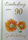 Einladungskarten 90. Geburtstag Frau Mann mit Innentext Motiv orangene Blume 10 Klappkarten DIN A6 im Hochformat mit weißen Umschlägen im Set Geburtstagskarten Einladung 90 Geburtstag Mann Frau K142