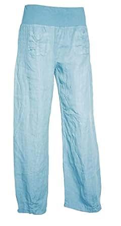 #661 Damen Sommer Hose dünne luftige Leinen Sommerhose 34 36 38 40 42 44 (M (36), Hellblau)