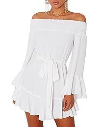 ORANDESIGNE Donna Mini Vestiti con Manica Lunga Camicetta Vestito da Festa Spalla  Nuda Chiffon Abito 6e565dc9183