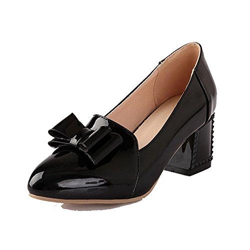 AllhqFashion Femme Pointu à Talon Correct Verni Couleur Unie Tire Chaussures Légeres Noir