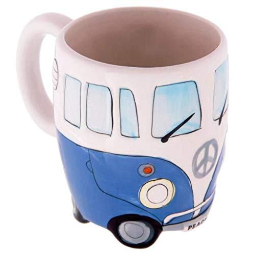Taza de agua fiosoji Copa Bus Creativa, Cerámica,Tazas Desayuno Mama,Graffiti, Alta popularidad,Frascos,Vasos Agua Cristal (Verde, 400ml) duradera 400ml Azul