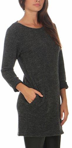 malito chandail tricoté pullover 1738 Femme Taille Unique gris foncé