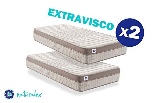 Naturalex - extravisco - materasso memory e lattice con schiuma ad alta densità, tecnologia adattamento di forma e ultra traspirante, altezza 24cm - confezione 2 materassi 80x190 cm