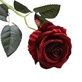 Mackur Künstliche Blumen Gefälschte Blumen Seide Künstliche Rose Blumen Köpfe Blumen Blumenstrauß Geschenke für Hochzeit Home Party Dekoration 1 Stück (Dunkelrot)