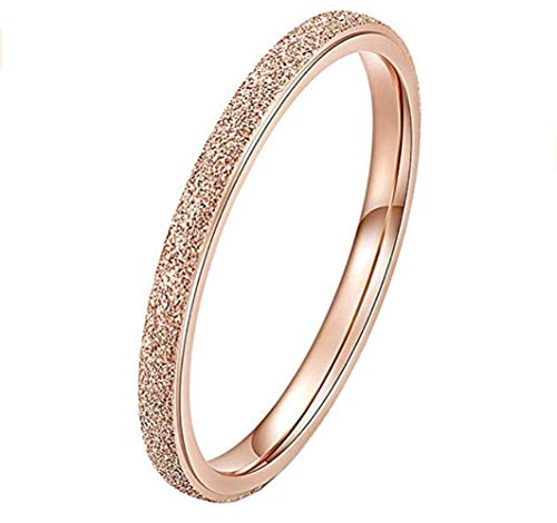 PAURO Damen Ring aus Edelstahl Roségold 2Mm Stapelbar Ehering Sandblast Finish Größe 50