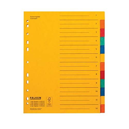 Original Falken Premium Register überbreit. Made in Germany. Aus extra starkem Colorspan-Karton für DIN A4 24 x 29,7 cm volle Höhe, Organisationsdruck 12-teilig für die Ablage von Prospekthüllen