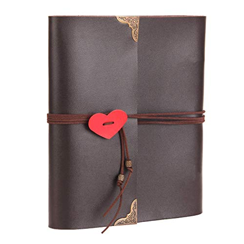 bum zum Selbstgestalten Leder Scrapbook Schwarze Seiten Fotobuch zum Einkleben Gästebuch für Reise Valentinstag Hochzeit Geburtstag Jahrestag - 19cm braun ()