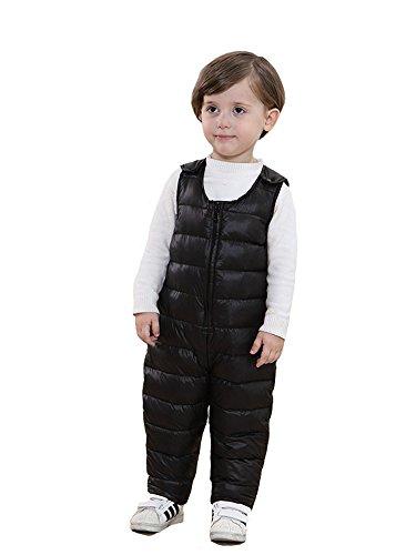 SANSEIJH Unisex Kinder Winter Softshell Warm Schneeanzug Schneehose Overall, Schwarz, Gr. 90cm(Höhe: 80-90cm )