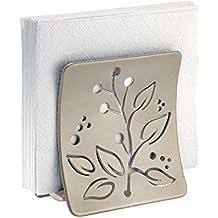 mDesign Elegante servilletero de mesa – Moderno soporte para servilletas para la mesa o la encimera - Dispensador de servilletas satinado de metal – plateado mate