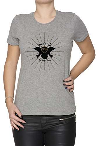 Punkish Generation Donna T-shirt Grigio Cotone Girocollo Maniche Corte Grey Women's T-shirt