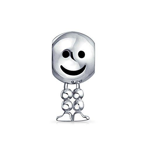Die Füße baumeln Smiley Charme Sterling Silber 925 Armband Perlen