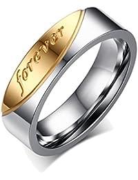 """UM joyería Hombres Mujer Acero inoxidable """"forever love"""" grabado parejas Amor anillos Oro Plata"""