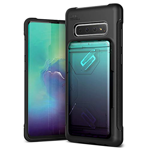VRS Design Smartphone Hülle kompatibel mit Samsung Galaxy S10 Plus Hülle 2019 [Damda Shield] Kartensteckplatz Stoßfestes Portemonnaie Alternative Farbverlauf handyhülle - Grün + Lila