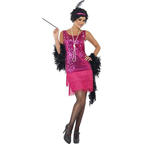 Smiffys, Damen Funtime Flapper Kostüm, Kleid, Kopfschmuck und Halskette, Größe: 40-42, (Kostüm Gruppe M&m)