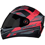 Steelbird SBA-1 R2K Full Face Helmet with Smoke Visor (Matt Black and Red, M)