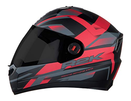 Steelbird SBA-1 R2K Full Face Helmet with Smoke Visor (Matt Black and Red, M)