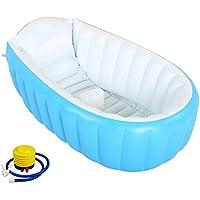 Swesy Bañera inflable para bebé - Lavabo para baño con bomba infladora antideslizante con almohadón suave para niños pequeños (0-3 años) - Plegable y portátil apta para piscina y viajes