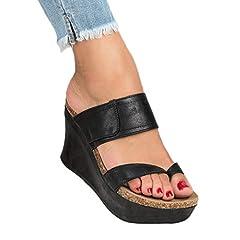 a9ee14dc36ec Tomwell Womens Sandals Platform Wedge Heels Casual Slip On ...