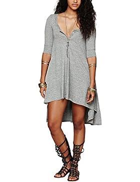 Urban GoCo Donna Abito Tunica Bottone Camicia Casual Mezza Manica T-shirt Tops