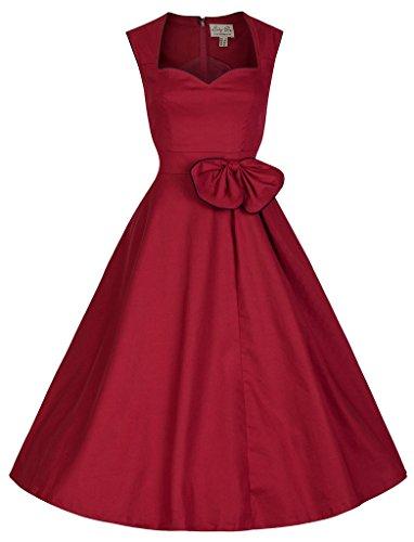 Bigood Robe Hepburn Vintage Années 50's Femme Coton Robes Sans Manche Soirée Cocktail Cérémonie Rouge