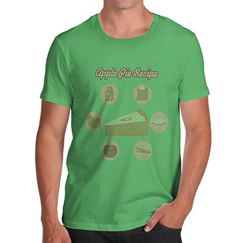 TWISTED ENVY Herren T-Shirt Apple Pie Recipe Rhinestone Diamante Stass X-Large Grün (Herren Apple Grn)