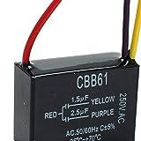 1 condensador de ventilador negro CBB61 1,5 uF + 2,5 uF 3 cables AC 250 V 50/60 Hz condensador para ventilador de techo