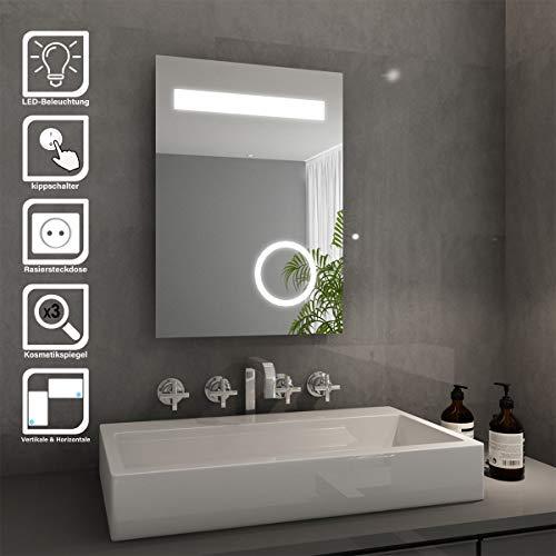 Elegant Badspiegel mit LED-Beleuchtung Energiesparend LED Badezimmerspiegel mit Schminkspiegel 50 x 70 cm kaltweiß IP44 Badezimmer Wandspiegel Bad Spiegel mit Rasiersteckdose