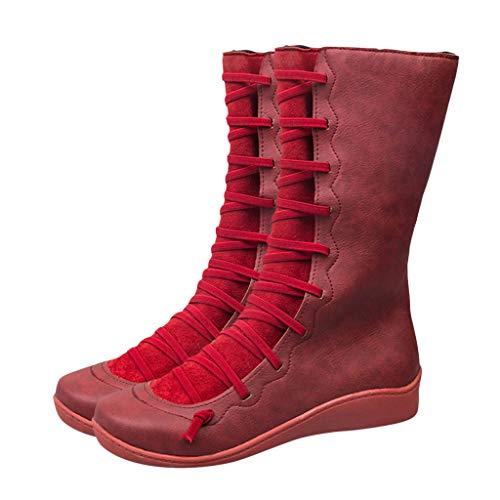 Momoxi Stivali Donna, Stivali da Donna con Tacco A Forma di Decorazione con Fibbia Solida E Calda