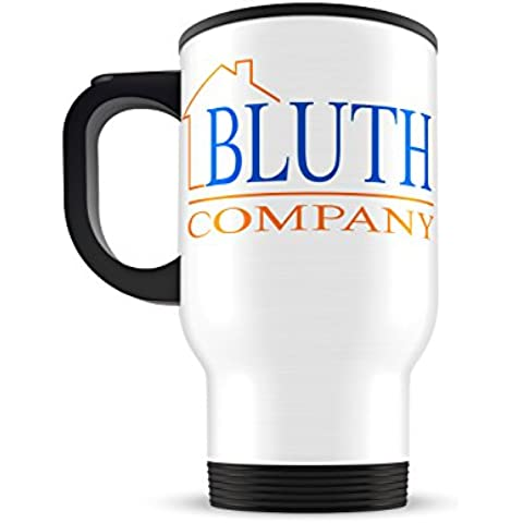 Bluth Company Stainless Steel Travel Mug, 14 oz White Tumbler, Funny Arrested Development TV Series Coffee Mug by Most