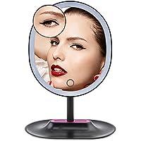 DAXGD Espejo de Maquillaje con 16 Leds Cuentas de luz, Espejo de Mesa de Pantalla táctil con Cable USB, 10x de Aumento (Negro)