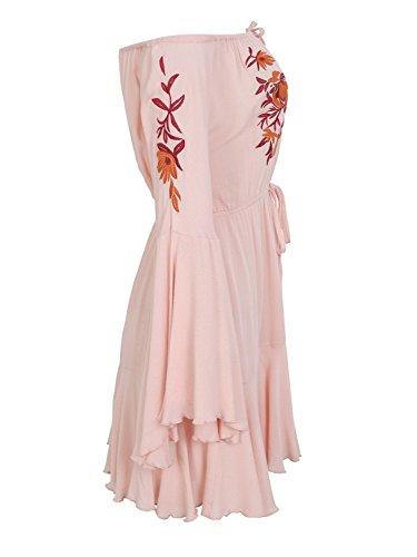 Missy Chilli Damen Kurz Jumpsuit Sommer Elegant Off Shoulder Langarm Blumen Stickerei Playsuit Overall mit Trompete Ärmel Rosa