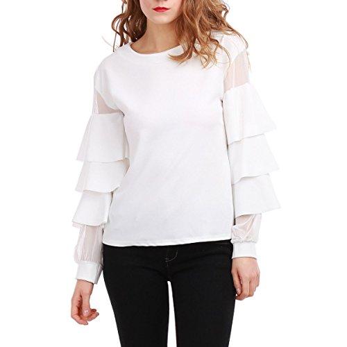 La Modeuse - Top femme style sweat Blanc