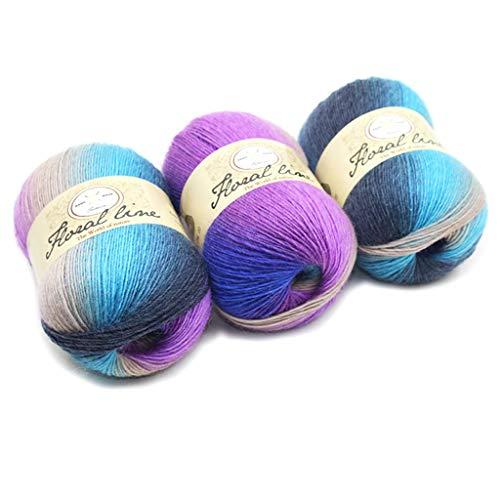 Stil Wolle Schal (Hoxin Baby Stricken Wolle Garn Thread, Rainbow Farbverlauf Stil Kammgarn Garn für DIY Schal Pullover (1 Stück) (13))