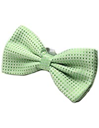 Green with Green Polka Dot Mens Stylish 2 Layer Bow Tie With Adjustable Strap