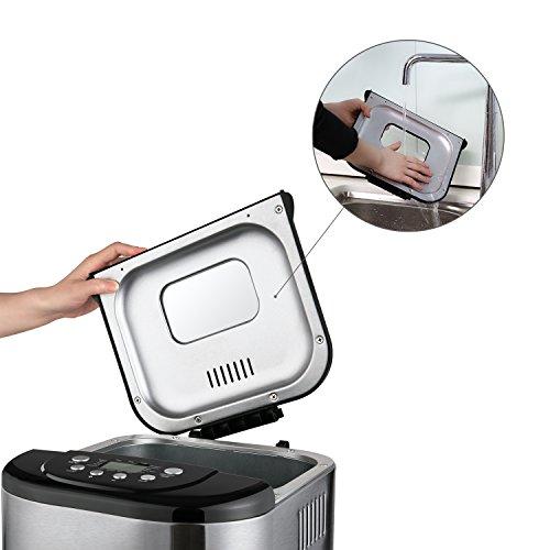Aicok Panificadora  Máquina programable para hacer pan  Completamente Automática  500 1000g  Máquina de Pan con Cubierta de Acero Inoxidable  15 Horas Temporizador de Retardo  15 Programas para el pan