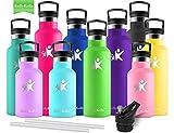 KollyKolla Vakuum-Isolierte Edelstahl Trinkflasche, 600ml BPA-frei Wasserflasche mit Filter, Thermosflasche für Kinder, Mädchen, Schule, Kindergarten, Sport, Wandern, Camping, Outdoor, Grün