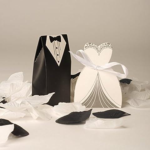 Lot de 100 boîtes à dragées pour mariage 50 mariées