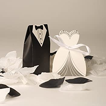 100 Bride And Groom Wedding Favour Boxes (50 Bride & 50 Groom) Style 2