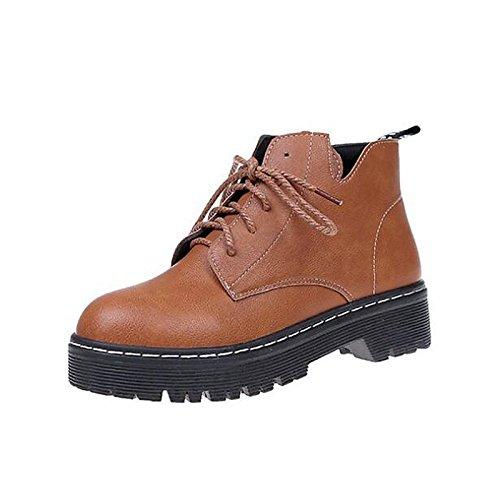 HSXZ Scarpe donna pu primavera cadono Comfort stivali Chunky Heel Babbucce/stivaletti di abbigliamento casual Nero Marrone Black