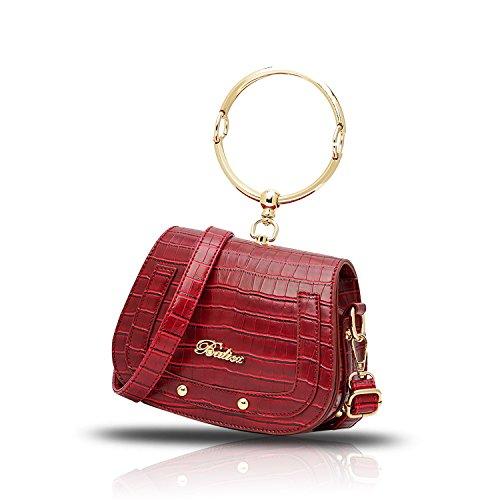 Sunas Borsa della borsa del sacchetto della sella dell'anello del sacchetto del messaggero della spalla di 2017 nuove donne della borsa del coccodrillo impresso rosso