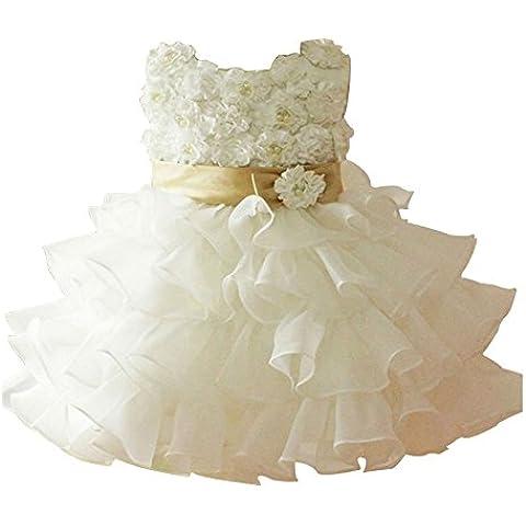 ZAMME Vestido de la princesa boda de la flor de las muchachas 3D dama de honor