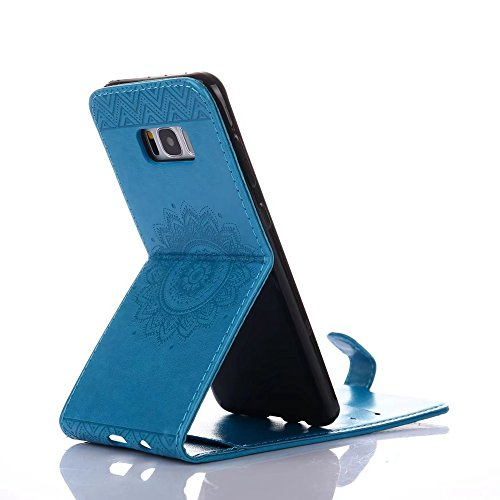 Vertikale Flip Stand Case Brieftasche Pouch Style Cover mit geprägten Blumen Blumen & Lanyard & Card Slots für Samsung Galaxy S8 Plus ( Color : Pink ) Blue