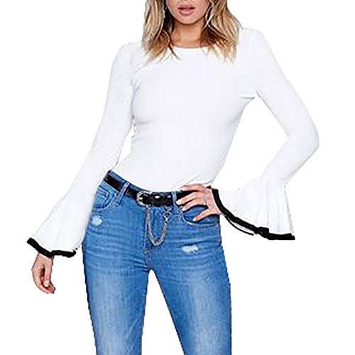 Womens 3/4 Sleeve Poplin Shirt (VENMO Neue Frau Schick Frühling Sommer- Herbst Winter Rücken O-Ausschnitt Hülse weich mode Bluse Fashion Womens Horn Sleeve Casual geschrieben t-shirt Flare Sleeve fashion Baumwolle Tops (S, White))