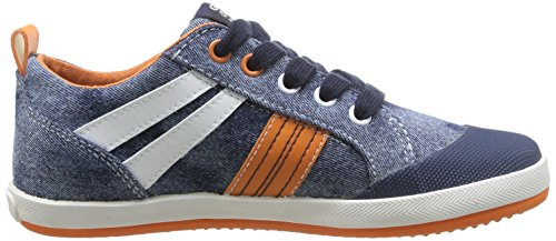 Geox J Kiwi B I, Baskets mode garçon Bleu (Jeans/Orange)