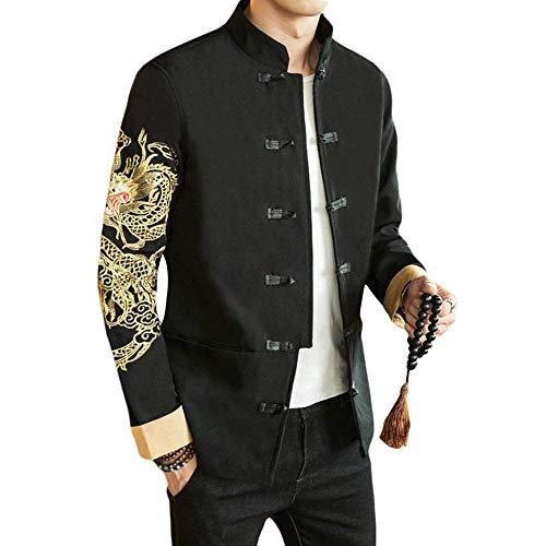 Chinesischen Kostüm Drachen - G-like Chinesische Tangzhuang Herren Jacke - Traditionell Retro Kostüm Mantel Lange Ärmel Stehkragen Drachen Peking Oper Masken Stickerei Schwarz Frühling Herbst Kleidung (Ärmel Drachen, L)