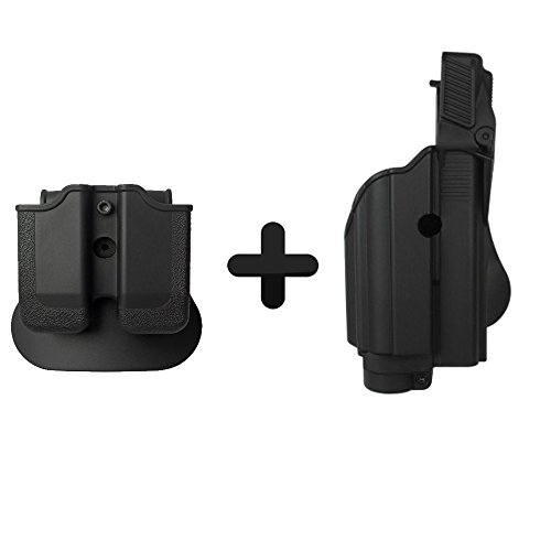 IMI Defense Z1600 Paddle Light / Laser Roto Holster + Double Magazine Pouch For Glock 17/19/22/23/25/31/32 Gen 4 Compatible -