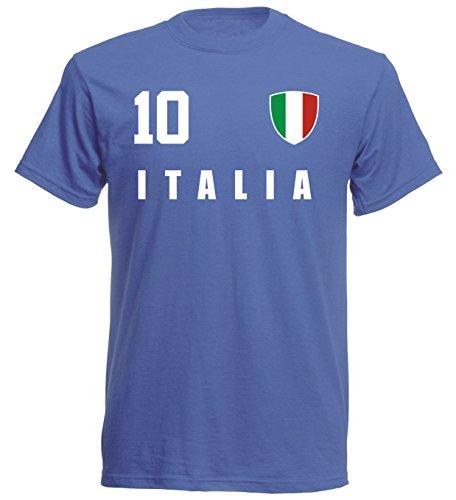 Italien WM 2018 T-Shirt Trikot Style - Blau ALL-10 - S M L XL XXL (L)
