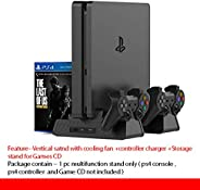 New World PS4 Slim PS4 Pro Multifunction Console Vertical Stand with Cooling Fan and Charging Dock and Disc Stand (Black)