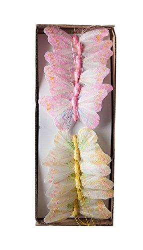 Yucheng Schmetterling Bunte Schmetterlinge Zierschmetterling aus Feder bemalt, mit Glitzer, im 12er Set, Floristikbedarf Frühling/Sommer Gartenparty Deko Partydeko Hochzeit (PinkGelb) (Glitzer-vogel-ornament)